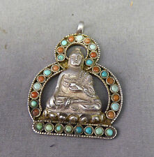 A Fine Silver Coral & Turquoise Buddha Pendant - Nepal or Tibet - Antique ?
