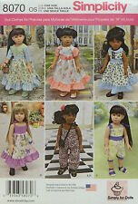 "Simplicity 8070 Sewing PATTERN fits 18"" AMERICAN GIRL DOLL Clothes w/ 6 Outfits"