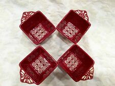 Tempt-ations Bakeware Square Bowls Tara Baker Carved Red Old World 4 Set Ramekin