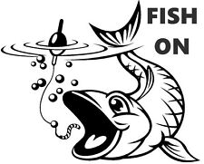 FISH ON,CARP,SEA, FLY FISHING, CAR,VAN, BOATS, SEAT BOXES DECAL, STICKER