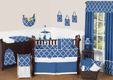 Sweet Jojo Designs Blue and White Geometric Print Baby Boy Girl Crib Bedding Set