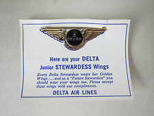 VINTAGE DELTA AIRLINE JUNIOR STEWARDESS WINGS METAL PIN W/ CARD