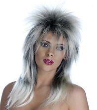 Unisexe GLAM ROCK Perruque Noir / Argent Accessoire Pour 70s 80s Déguisement Homme Femme
