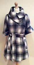 MARKS AND SPENCER CHECK WOOL COAT BELT SIZE 14 WOOL MIX BLACK CREAM GREY TAN