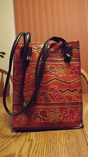 Vintage 80's Tooled Leather Africa Boho Tribal Ethnic Shoulder Bag Purse Satchel