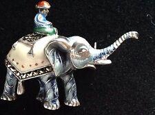 Guilloche Enamel 935 Silver MARCASITE Man On Elephant Pin German