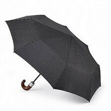 Fulton Chelsea-2 City Stripe Automatic Folding Umbrella Black Wood Handle