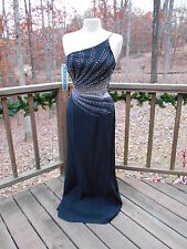 Alyce Designs Black Beaded & Rhinestones Formal Evening Prom Dress Gown S - 4
