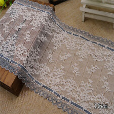 "7""*1Y Stretch/Elastic Lace Trim/Fabric~Ivory White+Grey~Roman Holiday~Sweet~"