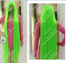 Cos light green ong straight  cosplay Heat-Resistant WIG 150cm +gift