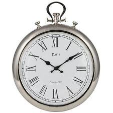 Silver Metal Stopwatch Wall Clock Roman Numerals Paris High Quality Unique 48cm
