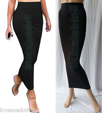 Womens Basic Tight Slim Fit Casual Club Celebrity Party Long Skirts BLACK Small