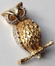 VINTAGE PANETTA SIGNED CLEAR RHINESTONE FIGURAL OWL BROOCH