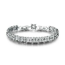 """18k white gold filled white Simulated Diamond wedding Tennis bracelet 7.9""""15.4g"""