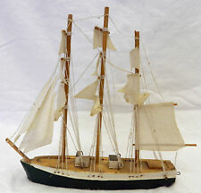 Nautical Tall Wood Cloth Sailing Ship Vessel Boat Collectible Figurine