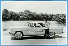 "12 By 18"" Black & White Picture 1956 Mercury Montclair Convertible Top Up"