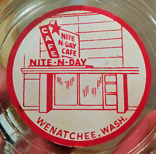 1940s WENATCHEE nite-n-day cafe vtg washington store sign glass car hop ashtray