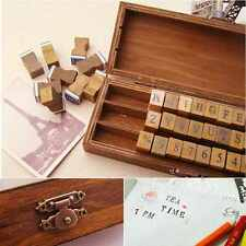 30pcs Retro Alphabet Capital Letter Uppercase Rubber Stamp Set Craft Wooden Box
