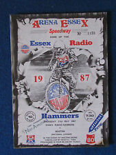 Speedway Programme - Essex Radio Hammers v Boston - 21/5/87