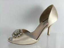 Badgley Mischka Womens Jeweled Beige Heels 7.5 M