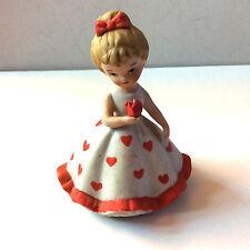Vintage Lefton China 2733 Girl Red Heart Valentine Flower Dress Porcelain Nice!