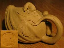 EARLY CHINESE 14cm YIXING ZISHA SCHOLAR CARVED MOUSE TEAPOT