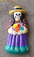 Day of the Dead Skeleton Flower Girl Clay Ornament - Peru