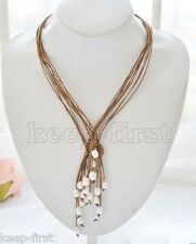 3pcs Genuine Brown Leather 9-10mm White Freshwater Pearl Necklace 21'' Long