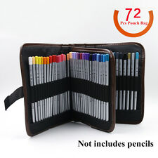 Black Case Pouch Pocket Canvas Bag For 72 Pc Charcoal Drawing Pencils Pen Brush