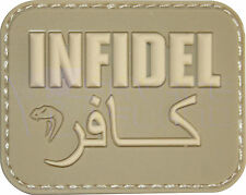 "Viper Military Morale 3D Rubber Patch ""INFIDEL"" - TAN - Velcro Backed - Airsoft"