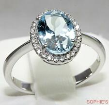 Victorian Natural Oval Cut Aquamarine & Diamond Engagement Ring 14K White Gold