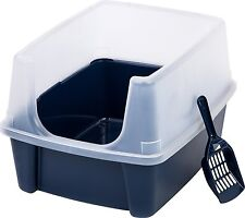 NEW Navy Open Top Comfortable Litter Box With Shield And Scoop By IRIS USA, Inc.