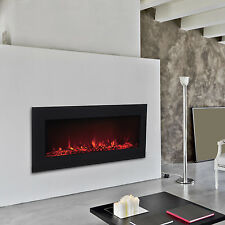 Electric Fireplace 1500W Wall Mounted Heat Tempered Glass Remoto Control w/LEDs