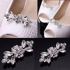 1Pair Rhinestone Crystal Wedding Bridal Diamante Crystal Sparkle Shoe Clips UK