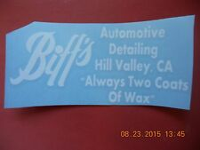 """Back To The Future """"Biff's Automotive Detailing"""" white vinyl decal"""