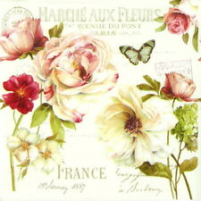 4x Single Table Party Paper Napkins for Decoupage Decopatch Marche aux Fleurs