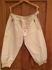 Women's ALL SAINTS Cropped Leather White Trousers New Size S