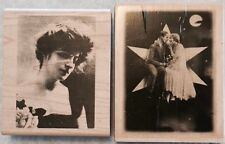 Lot of 2 Wood Mounted Rubber Stamps Vintage Photos