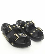 Ash United Star Studded Leather Slide Sandals Black 38 US 7/7.5