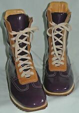 Santoni Club Purple/Plum Patent/Tan Leather Ladies Lace Up Sneaker Boot-35 Italy