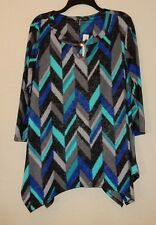 Women's Size 1X Shirt Top Brand New with Tags New Directions Colorful Chevrons