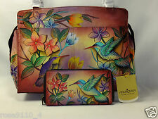 Anuschka Leather Zip Organizer Handbag Satchel Wallet Bird In Paradise Large NEW