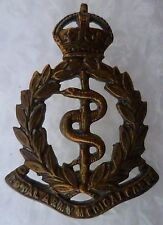 Badge- Royal Army Medical Cap Badge- KC (ALL Brass, Genuine*)