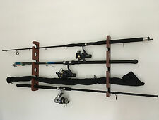 Wooden Fishing Rod & Reel Storage/Rack Wall Mount 6 Rods Spacious rack