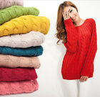 Women Girls Long Sleeve Knitted Crew Neck Loose Sweater Pullover Jumper Tops