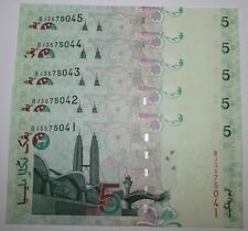 (PL) RM 5 BJ 3575041-45 UNC 5 PCS MALAYSIA ZETI PAPER LAST PREFIX