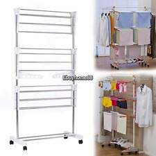 Stainless Floor Foldable Compact Storage Laundry Hanger Clothes Drying Rack