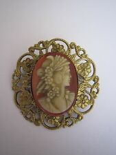 Beautiful Filigree Handmade Cameo Brooch