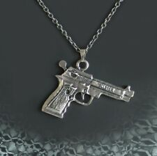 Gun Necklace Semi Auto Pistol Jewelry Chain Bling Western Cowboy Gangster