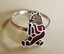 "1930's Winnie-the-Pooh ""925"" Marked, Sterling & Enamel, Pristine (Size-3) Ring"